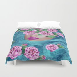Lady with Camellias Duvet Cover