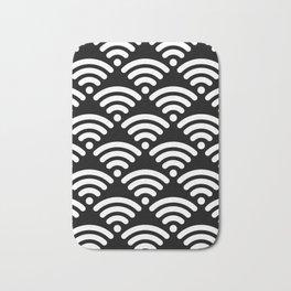 WiFi Pattern (white on black version) Bath Mat