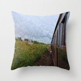 Steam train coach reflection Throw Pillow