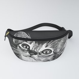 abyssinian cat kitten vector art black Fanny Pack