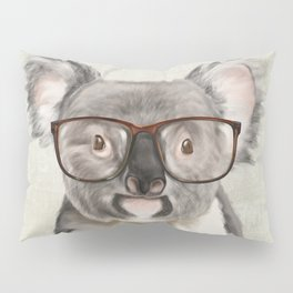 A baby koala with glasses on a rustic background Pillow Sham