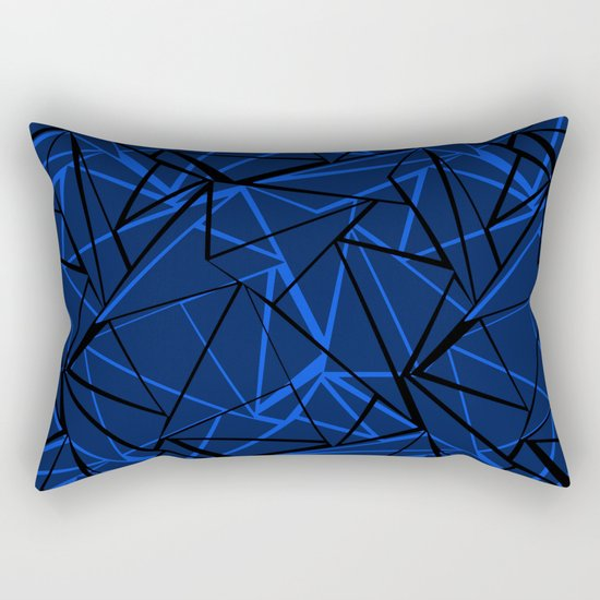 Abstract Black and blue geometric pattern . Rectangular Pillow