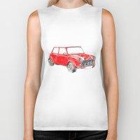 mini cooper Biker Tanks featuring Red Mini Cooper by Meg Ashford