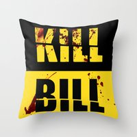 kill bill Throw Pillows featuring Kill Bill by Melis Kalpakçıoğlu