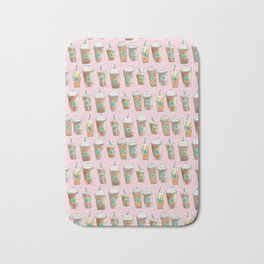 Coffee Cup Line Up in Pink Berry Bath Mat