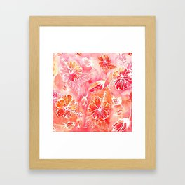 Hibiscus | Tropical Watercolor in Coral, Pink, Orange | #hibiscus #tropicalflower Framed Art Print