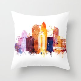 Charlotte Skyline, Skyline Print. North Carolina Landscape Poster Throw Pillow