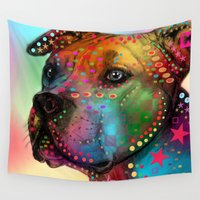 pit bull Wall Tapestries featuring pit bull by mark ashkenazi