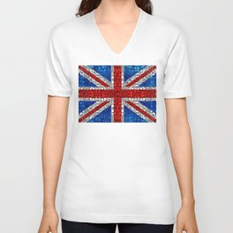 British Flag - Brittain England Stone Rock'd Art Unisex V-Neck