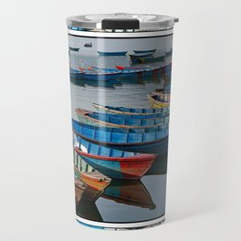COLORFUL CANOES ALONG PHEWA LAKE SHORELINE POKHARA NEPAL 2 Travel Mug