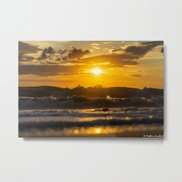 Sunset North Sea Waves Denmark Bjerregard Beach 4 Metal Print