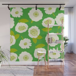 Floating Flowers Green Wall Mural