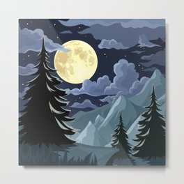 Night landscape with mountains and trees. Metal Print