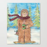 bigfoot Canvas Prints featuring Bigfoot by Jennifer Weger