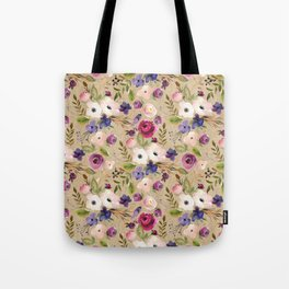 Modern blush pink purple green elegant floral leaves Tote Bag