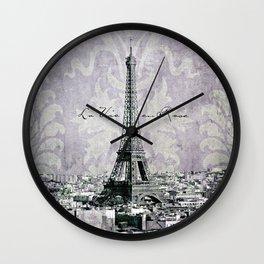 romantic Paris violet Wall Clock