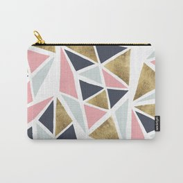 Modern geometrical pink navy blue gold triangles pattern Carry-All Pouch