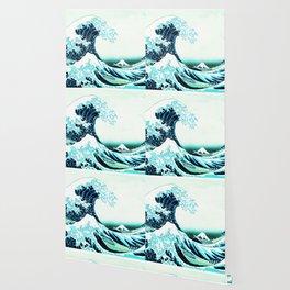 the great wave : aqua teal Wallpaper
