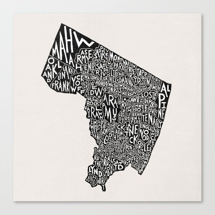 Bergen County, New Jersey Map Canvas Print