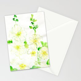 White Hollyhocks Stationery Cards