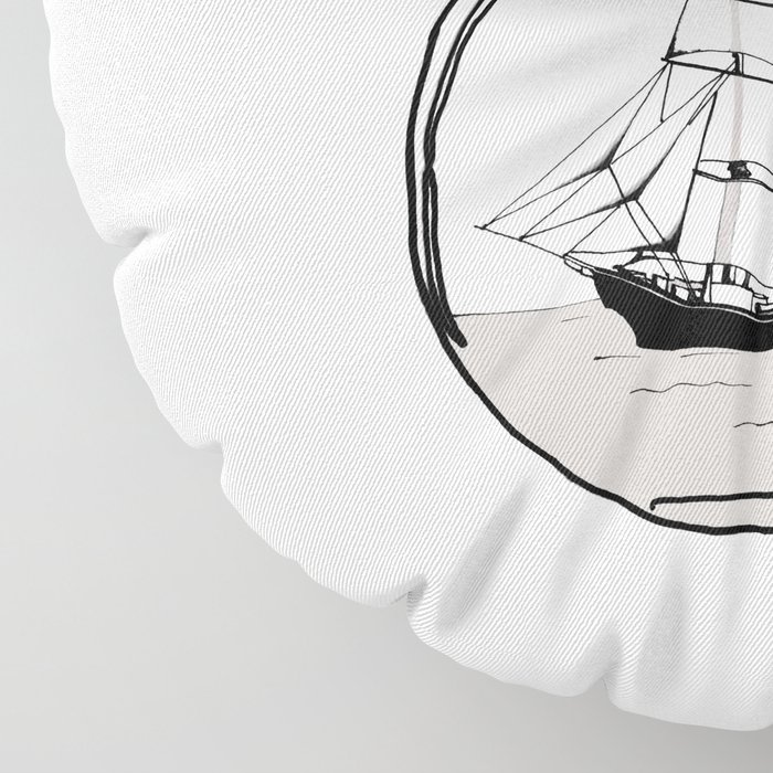 Ship in the Glass Bulb for Home Decor and Apparel Floor Pillow