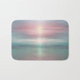 """""""Pink sky over blue sea Sunset"""" Bath Mat"""