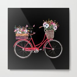 Cat Riding Bicycle Floral print flowers Gift Metal Print