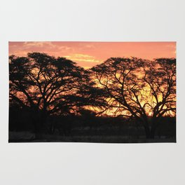 Beautiful Africa Sunset with Silhouette Acacia Trees Rug