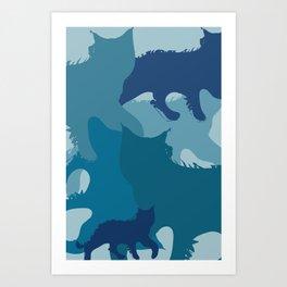 Aqua Cats Camo Art Print