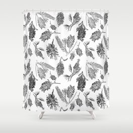 Black and White Australia Print Shower Curtain