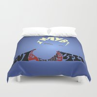 buffy the vampire slayer Duvet Covers featuring Spike - Buffy the vampire slayer by Rebecca McGoran