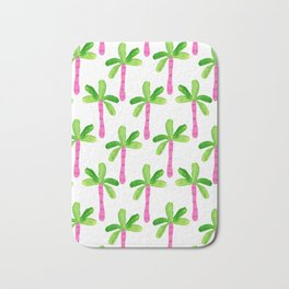 Watercolor Palm Trees in Pink Bath Mat