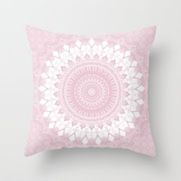 Boho Pink Mandala Throw Pillow