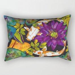 Purple Lily and Koi Fish Rectangular Pillow