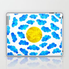 Cute blue cartoon clouds and sun. Laptop & iPad Skin