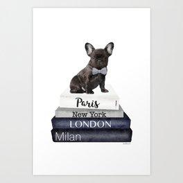 Frenchie, french, bulldog, Black, Fashion books, Fashion illustration, Fashion, wall art Art Print