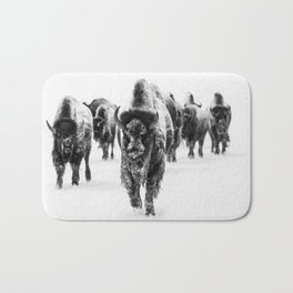 Bisons, black and white Bath Mat