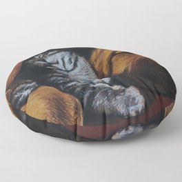 Cat and bloodhound Floor Pillow