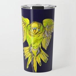 Flying Australian Budgie Bird Parakeet Travel Mug