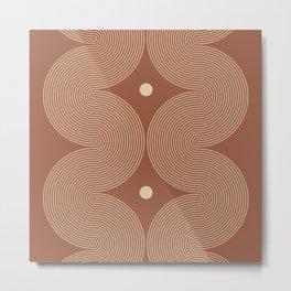 Geometric Lines in Terracotta and Beige 6 Metal Print