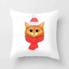 Winter kitty Throw Pillow