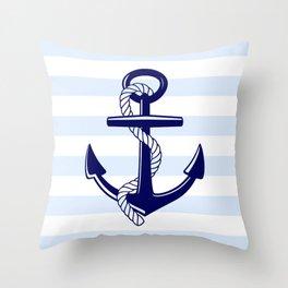 Blue Anchor Stripe Throw Pillow
