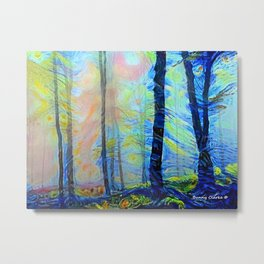 Sunrise in the Woods Metal Print