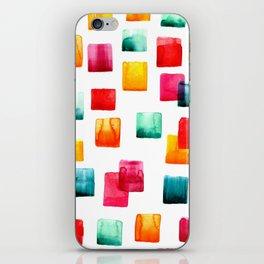 Full of watercolor squares iPhone Skin