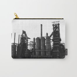 Bethlehem Steel Blast Furnaces in black and white 6 Carry-All Pouch
