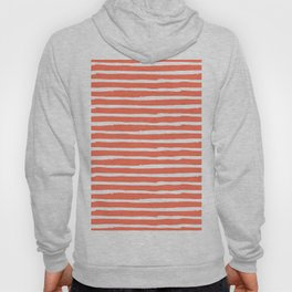 Thin Stripes White on Deep Coral Hoody