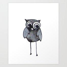 The Friendly Owl - White Background Art Print