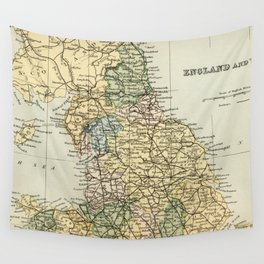 North England and Wales Vintage Map Wall Tapestry