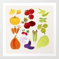 vegetables Art Prints featuring Vegetables  by rusanovska