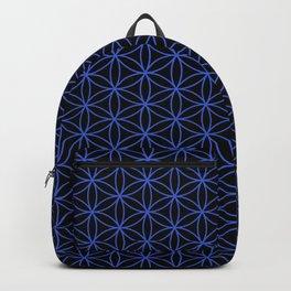 Flower of Life Pattern – Blue on Black Backpack